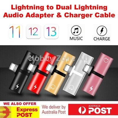 Dual Lightning Audio Earphone Adapter Charger Splitter for iPhone XR XS XS Max 8