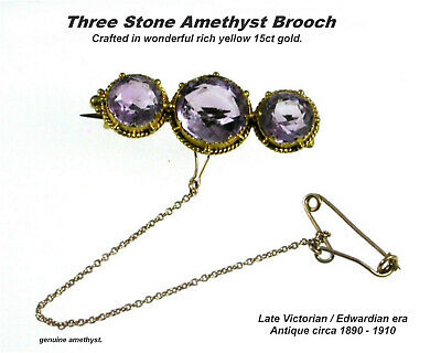 Antique Amethyst Brooch 3 Stone 15ct Gold Victorian Edwardian era c1890 - 1910