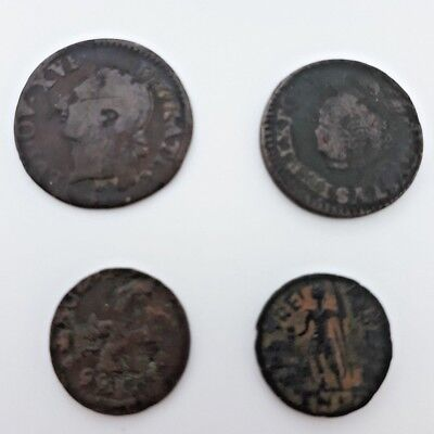 Lot of 4 Pcs Bronze Old Europe 1700s Coins Set Various Cities Collectible Pack