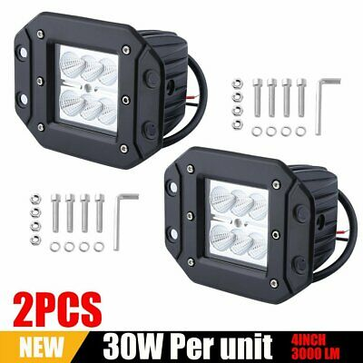 "2x 4"" Inch 30w SPOT LED Cube Pods Work Light Flush Mount Offroad Truck SUV"