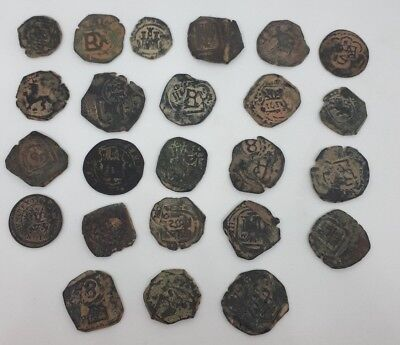Lot Of 24 Pcs Bronze Old Coins Set Spain Mid 1600s Hand Struck Collectible Pack