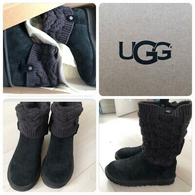 b91d6fa1e18 BLACK SAELA KNITTED Ugg Boots Uk Size 7.5 100% Genuine From UGG.com RARE  Style