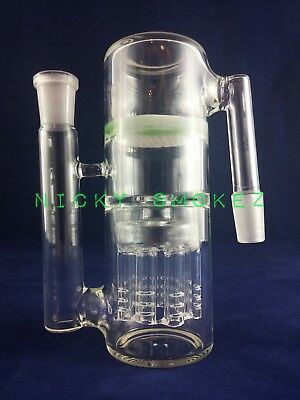 14mm Ash Catcher Double Perc Honeycomb and 8 Arm Tree Glass 90*