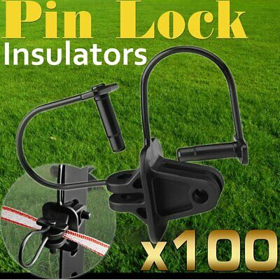 100 Pinlock Insulator Electric Fence Energiser Steel Post Pin Lock Polytape @Q
