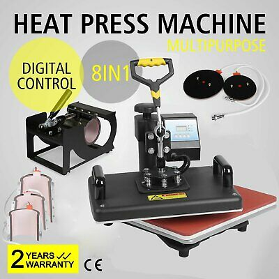 8 in 1 T-Shirt Mug Hat Plate DIY Heat Press Machine Digital Transfer @Q