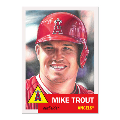2019 Topps Living Set 200 Mike Trout Angels Retro 1953 Style