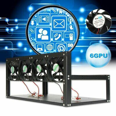 GPU Mining Rig Steel Case Rack Bracket Open Air Frame Up For 6 GPU With 4 Fans #