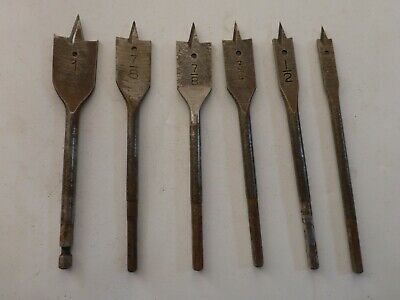 6 VINTAGE Drills on a wood. Sizes 1, 7/8, 7/8, 3/4, 1/2, 3/8