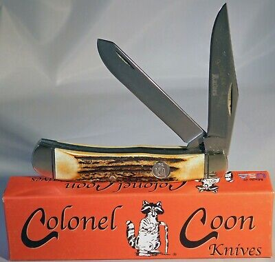 Colonel Coon Made In Usa Genuine India Stag Full Size Trapper Knife Nice (5614)