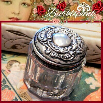 Small Antique Sterling Silver Repousse Cover Glass Vanity Jar