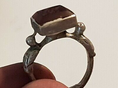 Exeptional Extremely Rare Medieval Silver Seal Ring Bird Figures.6,1 Gr.18 Mm