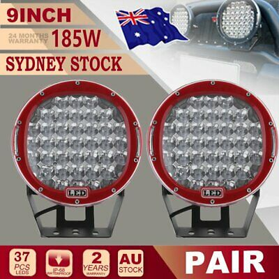 Pair 9 inch SPOT 45 LEDs Driving Lights Round Off Road 4x4 Spotlights Red KP I5