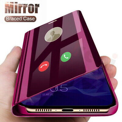 View Mirror Leather Flip Stand Case Cover For Samsung Galaxy A70 A30 A50 A20E A8