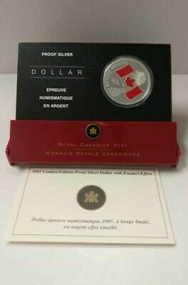 2005 Limited Edition Proof Silver Dollar with Enamel Effect, 99.99% Fine Silver