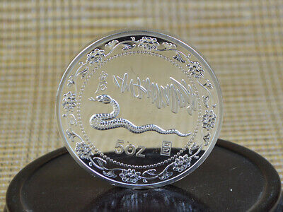 decorate Fine Old 999 Silver Copper Coins China Commemorative Coin snake 50z