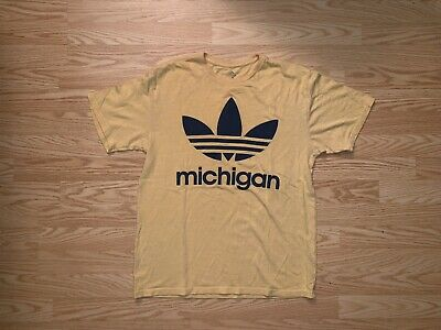 Men's Adidas Retro Trefoil Michican Yellow T-Shirt Medium A1