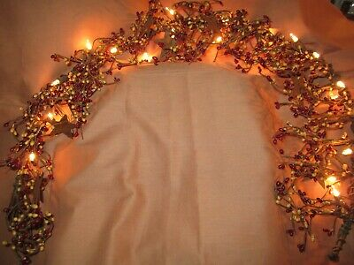 Lighted Rusty Stars And Pip Berry Garland  40'  Primitive Crafts R16