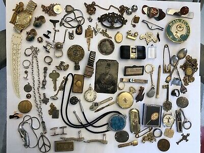 Vintage Mens Junk Drawer Lot Watches Collectibles Jewelry Medals