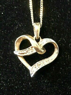 Vintage 9ct gold & Diamonds (tested) pendant and chain - probably dates from aro