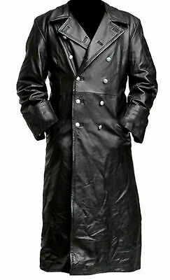 Men's German Classic Ww2 Military Uniform Officer Black Real Leather Trench Coat
