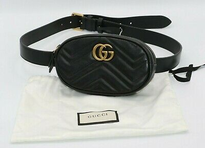 30146fca3 NEW GUCCI GG Marmont Matelasse Leather Double G Belt Bag Fanny Pack ...