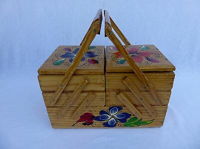 Vintage Hand Painted Wood Accordion Sewing Craft Jewelry Box