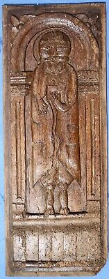 Large 16h / 17th Century CARVED OAK PANEL OF A MAN French c.1600 Medieval Gothic