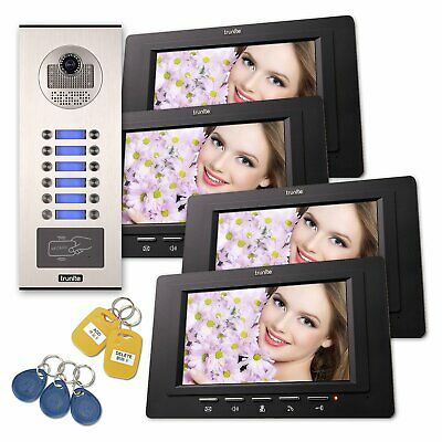 """Trunite RFID Video Doorbell Intercom 7"""" inch Monitor for 2 to 12 Indoor Units"""