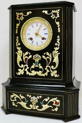 Antique French Empire 8 Day Enamel & Brass Inlaid Boulle Ebonised Mantel Clock