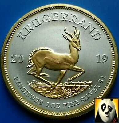 2019 South Africa Krugerrand Fine 1oz Silver .999 + 24k Gold Plated Coin