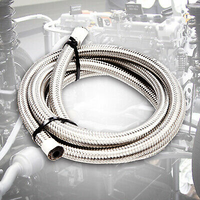 Stainless Steel Braided Hose Rubber Fuel Line Petrol Fluid Pipe Oil Coolant AN6