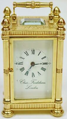 Vintage Charles Frodsham 8 Day Brass & Bevelled Glass Miniature Carriage Clock