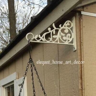 Plant Hangers Decorative Wall Brackets Vintage Wrought Iron Single White Hooks