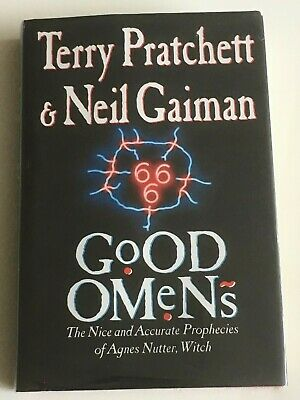 "GOOD OMENS by Terry Pratchett & Neil Gaiman signed ""To H"" 1st edition hardback"