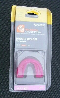 Shock Doctor Pink Braces Gum Shield Mouth Guard Boxing Rugby MMA Adult