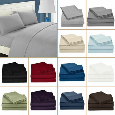 Double/Queen/King Size 1800 Count 3/4 Piece Bed Sheet Set Flat Fitted Sheets UK