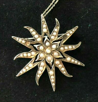 Antique 1864 .375 Gold necklace and pendant with semi precious stones hallmarked