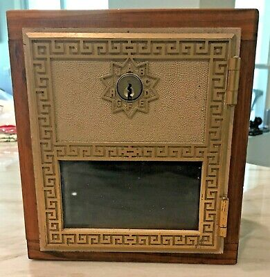 Post Office P.O. Door Mail Box Postal Brass Glass Antique Vintage Wood Box