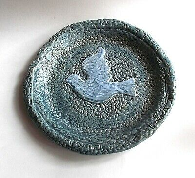 "Vintage 90s Hand Crafted Clay/Pottery/Stoneware ""Pie"" Plate with Dove in Center"