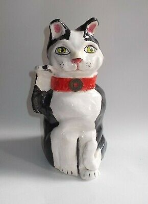 Vintage Large Hand Crafted Clay/Pottery Black & White Cat-Chinese Coin on Collar