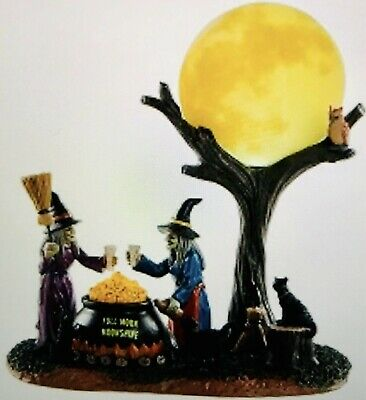 Lemax Spooky Town 2018 FULL MOON MOONSHINE Witch Black Cat Cauldron Lighted