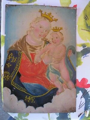 Original Antique Retablo On Tin Of Our Lady Of Refuge In Good Overall Condition