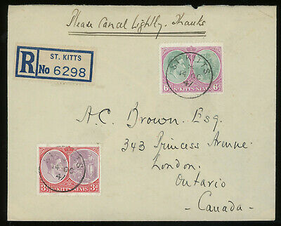 St. Kitts 1947 reg. cover to Canada bearing KGVI 3d + 6d, A SCARCE COVER