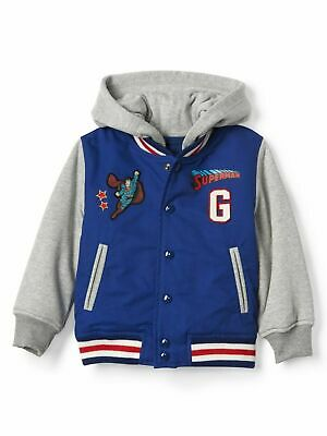 Baby Gap Toddler Boys DC Superman Letterman Varsity Hoodie Blue Jacket 2T