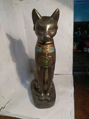 Feline Goddess Sculpture Egyptian Cat Ancient Bastet Museum Replica Statue 8""