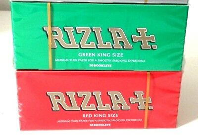 Rizla Red Green King Size Genuine Cigarette Rolling Papers Original Booklets