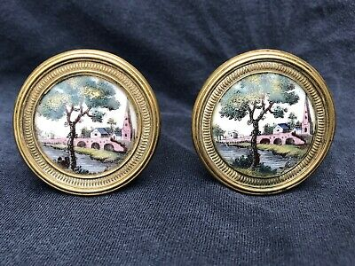 Pair Antique Late 18th Early 19th CT Battersea Curtain Tie Backs Mirror Knobs