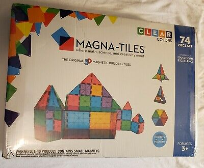 Magna Tiles (Valtech) 74 Clear Color Pieces 3D Magnetic Building Age 3 Plus