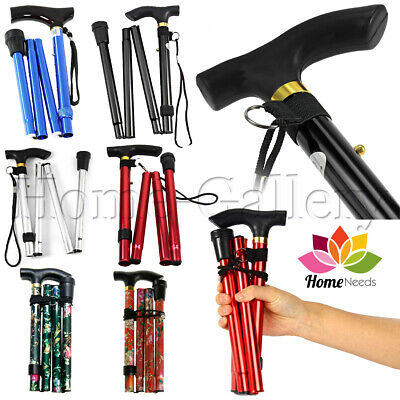Walking Stick Heavy Duty Folding Mobility Cane Adjustable Collapsible Non Slip