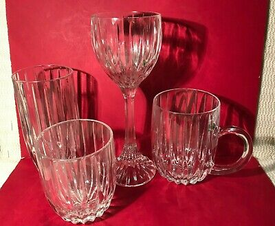 "Mikasa ""Park Lane"" Crystal--4 Items-Wine Hock, Mug, Dbl Old Fashioned & Highball"